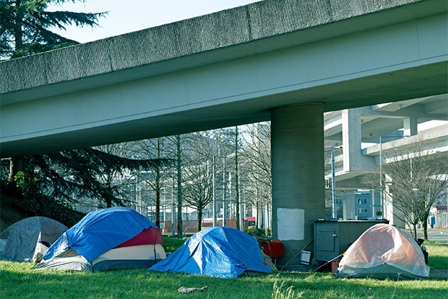 Seattle homeless living in tents under freeway