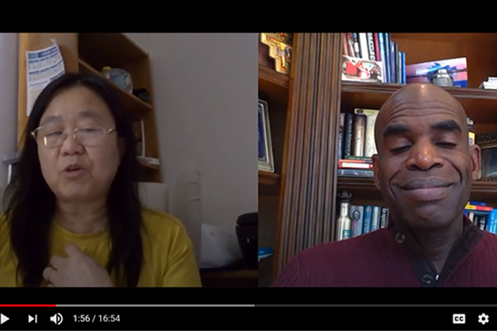 A screenshot of Ginger Kwan and Gordon McHenry, Jr., during their livestream interview on rental assistance and racial equity