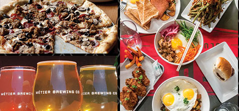 three photos showing pizza, plates of food and glasses of beer